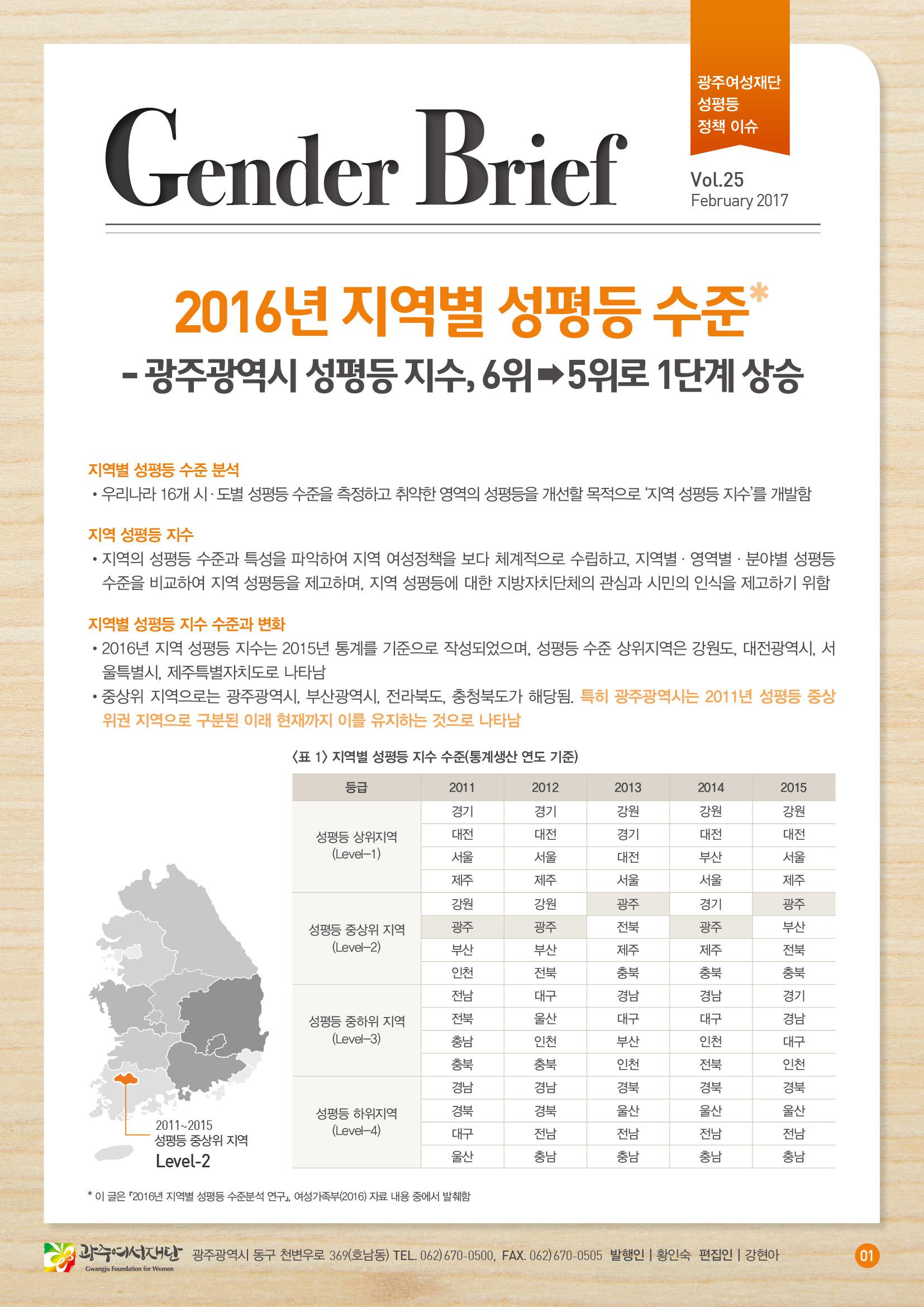 젠더브리프 제25호-광주광역시 성평등 지수, 6위 →5위로 1단계 상승
