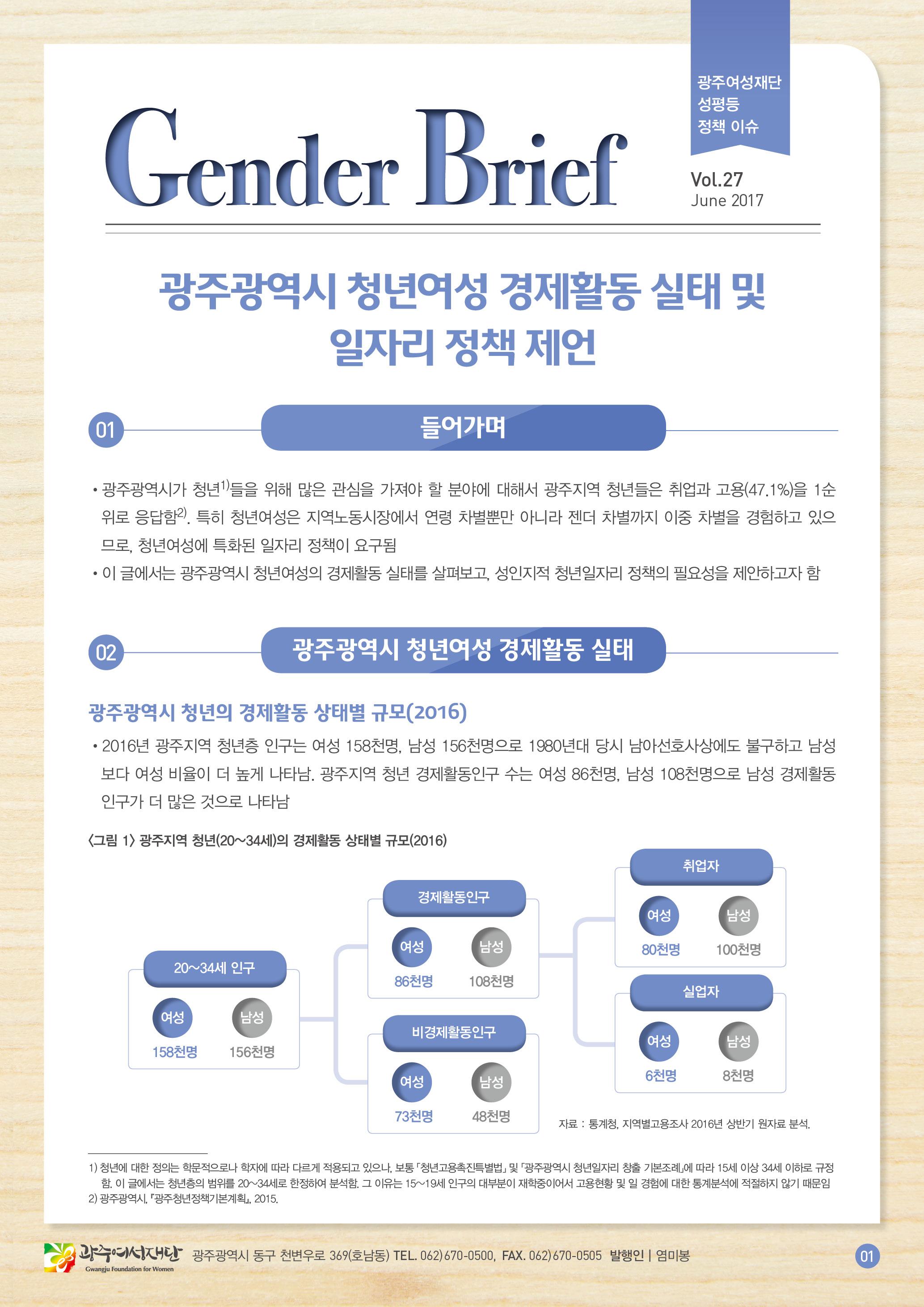 젠더브리프 제27호-광주광역시 청년여성 경제활동 실태 및 일자리 정책 제언