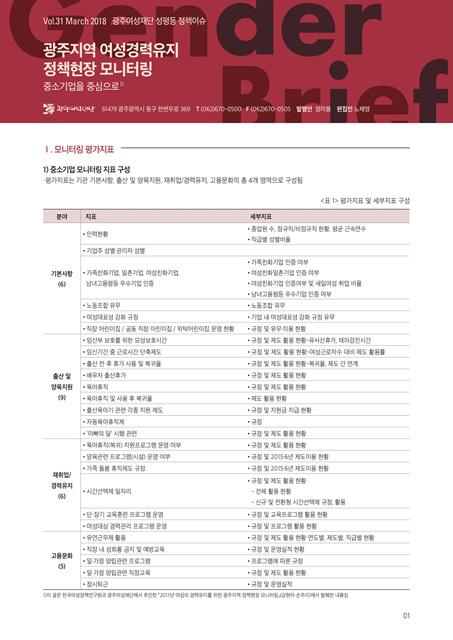 젠더브리프 제31호-광주지역 여성경력유지 정책현장 모니터링(중소기업을 중심으로)